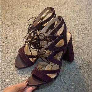 Sam Edelman purple velvet lace up heels